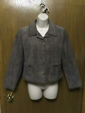 SCULLY BROWN Cropped LEATHER JACKET size S Studded  Unique Buttons C88