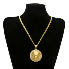 Elvis Presley Medal 3D Round Lion Head Iced Out TCB Gold Plated Necklace Pendant