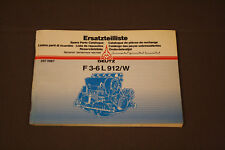 Deutz F3-6L 912/W Spare Parts Catalog Book Manual