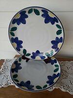 "Set of (2) International Tableworks BLUE NAPOLI Stoneware 11"" Dinner Plates #153"