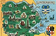 Postcard Lincolnshire  map with places of interes un posted  PT15215