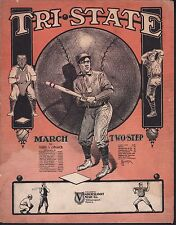 Tri State March and Two Step 1906 Harry J Lincoln Large Format Sheet Music