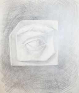 Vintage Surrealist pencil drawing eye