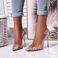 New Women's Clear PVC Transparent Pumps High Heels Point Toes Womens Party Shoes