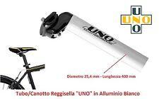 Tubo/Canott ReggiSella UNO in Alluminio Bianco 25,4 per bici 20-24-26 Pieghevole