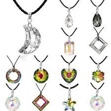 New Womens Moon Heart Drop Crystal Rhinestone Leather Pendant Necklace Jewellery