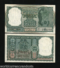 INDIA 5 RUPEES P36A 1962 DEER TIGER PCB UNC MONEY WORLD CURRENCY BILL BANKNOTE