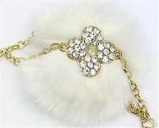 White Rabbit Fur Key Chain with Tassels and Clear Crystal Accent