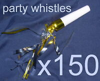 """150 TINSEL PARTY WHISTLES, 2½"""" Plastic Whistle, Assorted Colours, 10 packs of 15"""