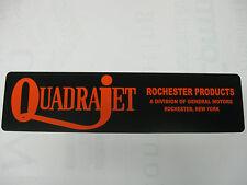 "Vintage,Quadrajet,Carbureter,Carburetor,Rochester,N.Y.Alum.Sign,6""x24"""
