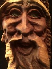 Vintage Wood Carving Gnome Wall Sculpture Art Signed