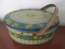 vintage Tindeco oval Container Lunch Box Tin Fruit Design