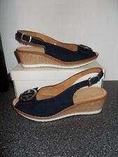 £55 LUFTPOLSTER JENNY Blue Wedge Sling back Sandals Size 5 Excellent Condition