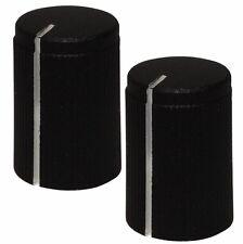 2 boutons de potentiomètre pour axe moleté 6mm Ø10x15mm noir/blanc alu/plastique
