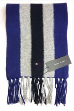 TOMMY HILFIGER Navy Grey Violet Wool Classic Striped SCARF New Tags 27 x 172cm
