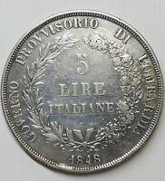 5 LIRE 1848 Milano Governo Provvisorio Lombardia in bb...