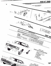 1967 1968 1969 FORD GALAXIE 500 XL LTD BODY PARTS LIST FRAME CRASH SHEETS MRE