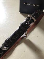 New $895 Ralph Lauren American Alligator Mens Belt Dark Brown 32/80 Italy