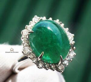 Emerald Ring Gold Diamond Natural Zambian13.15CTW GIA Certified RETAIL $13200
