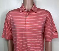 Oxford Golf Mens Polo Shirt AUGUSTA PINES Short Sleeve Size Large Striped Salmon
