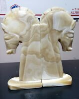 Vintage Trojan Horse Head Bookends Carved Marble Stone Book Ends Pair