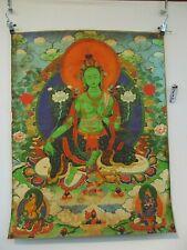 "altes GRÜNE TARA Buddha Thangka Bild Holzschnitt auf Seide & Papier Tibet ""1970"