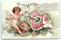 VTG Postcard Ellen Clapsaddle Valentine Int Art Publish 1908 Dove Rose Cherub A5