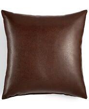 "Hallmart Collectibles 18"" Square Decorative Pillow Faux-Leather BROWN A9Z305"
