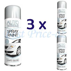 New 3x 250ml White Gloss Spray Paint Auto Extreme Restore Metal Alloy