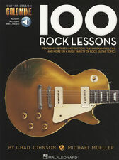 100 Rock Lessons Guitar TAB Book/Audio Scales Riffs Licks Metal Shred Soloing