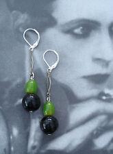 Art Deco Vintage Negro Y Verde Baquelita checas y pendientes de cristal