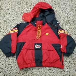 Vintage 90s Distressed Kansas City Chiefs Starter Jacket Kids Youth Size Small
