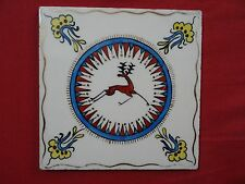 israel armenian vtg ceramic tile  HAND PAINTED  CHAMIZER FLOWERS & DEER Gazelle
