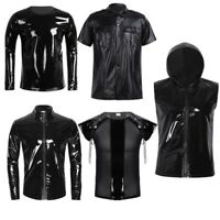 Sexy Men Shiny Metallic Wet Look Zipper Lace-up T Shirt Tank Tops Fancy Clubwear