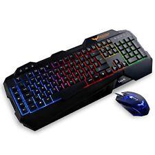 Reino Unido Layout Gaming Keyboard, Havit Arco Iris Led Con Retroiluminación Teclado Y Mouse con cable