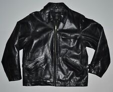 Vintage GAP Mens Small Black Waxed Leather Quilted Jacket Coat Casual Dress