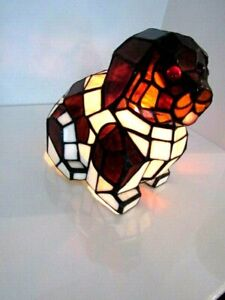 VINTAGE TIFFANY STYLE STAINED GLASS LAMP BLACK/WHITE HAPPY DOG FLAT NOSE