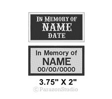 "Custom Embroidered In Memory Of Motorcycle Biker MC Sew on Patch 3.75"" X 2"" (B)"