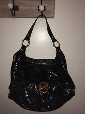 Michael Kors Micheal Black Snakeskin Purse Handbag Shoulder Bag Medium Mint!!!