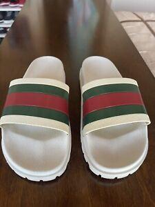 Gucci Men's White Rubber 72 Sport Slide Slippers Sandal Shoes Size US 10