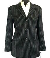 NWT Classiques Entier Wool Womens Black Sand Striped Blazer Jacket Sz M