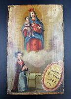 altes Votiv Bild auf Holz 1827 zur Verlobung