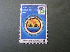 TRINIDAD & TOBAGO, SCOTT # 363, $5.00 VALUE 1982 SCOUTING YEAR ISSUE USED