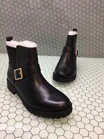 Women Vionic Mystic Mara Black Leather Moto Monk Strap Ankle Boots Sz 9.5M