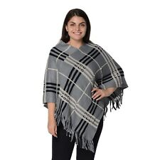 Grey Plaid Pattern Fashion Poncho with Pearls Tassels Polyester Acrylic