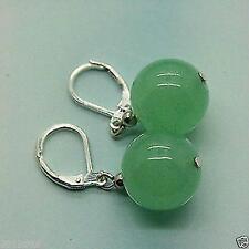 cadeaux de Noël,12mm vert jade perles boucle d'oreille dangle