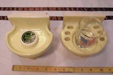 Vintage *Yellow* Sink Set ceramic soap dish & tumbler American Olean; Buttercup