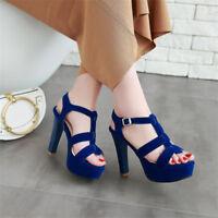 Women's Peep Toe Ankle Strap High Heels Slingbacks Platform Party Suede Shoes