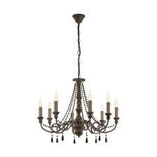 Eglo 49822 Colchester 8 Light Pendant Wood/Stainless Steel/Taupe Antique Finish