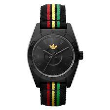 Adidas Womens Mini Santiago Black Plastic Case Red, Yellow & Green Nylon Watch